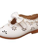 Damen-Sandalen-Lässig-Tüll PU-Flacher Absatz-Komfort-Weiß Rosa