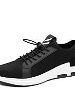 Herren-Sneaker-Outddor Lässig Sportlich-PU-Flacher Absatz-Komfort Leuchtende Sohlen-Schwarz Schwarz/weiss
