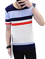 Men's Plus Size Casual/Daily Beach Vintage Simple Street chic Spring Summer T-shirt,Solid Striped Round Neck Short SleeveCotton Rayon
