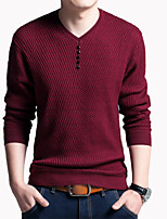 Herren Standard Strickjacke-Übergröße Solide V-Ausschnitt Langarm Baumwolle Alle Saisons Dünn Mikro-elastisch