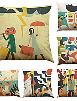 Set of 6 Abstract Characters Pattern   Linen Pillowcase Sofa Home Decor Cushion Cover (18*18inch)