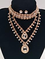 Свадебные комплекты ювелирных изделий Уникальный дизайн Мода Стразы Сплав Круглый Золотой 1 ожерелье 1 пара сережек ДляСвадьба Для