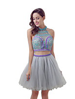 Robe de cocktail robe de bal halter knee-length tulle avec perles