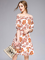 DFFDWomen's Going out Casual/Daily Party Sexy Cute Street chic A Line DressFloral Boat Neck Above Knee  Sleeve Polyester Spring SummerMid