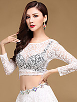 Belly Dance Tops Women's Training Chinlon Lace Sexy Adjustable 1 Piece Long Sleeve Dance Costumes Top Red / Black / White