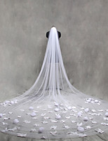 Wedding Veil One-tier Cathedral Veils Cut Edge Lace Applique Edge Tulle Organza Lace With Comb