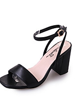 Women's Sandals Summer T-Strap Leatherette Outdoor Dress Casual Chunky Heel Block Heel Buckle Black Beige Walking