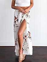 Feminino Sexy Vintage Cintura Alta Micro-Elástico Chinos Calças,Perna larga Estampado,Com Fenda