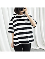 2017 split thick stripes loose wild casual short-sleeve T-shirt bottoming shirt student
