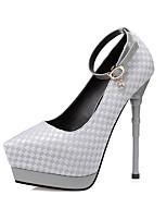 Women's Heels Spring Summer Comfort Leather Dress Stiletto Heel Rhinestone Buckle