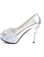 Women's Sandals Comfort PU Summer Outdoor Walking Comfort Crystal Heel Gold Silver 2in-2 3/4in