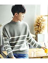 Herren Standard Pullover-Ausgehen Lässig/Alltäglich Einfach Solide Gestreift Rundhalsausschnitt Langarm Baumwolle KunstseideFrühling