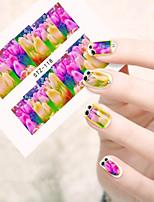 10pcs/set Beautiful Tulip Design Nail Art Sticker Colorful Tulip Water Transfer Decals Full Nail Sticker STZ-118