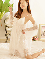 Lace Lingerie Nightwear,Retro Solid-Thin Cotton Women's