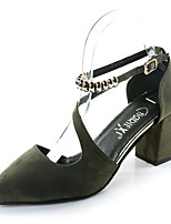 Women's Heels Spring Summer Comfort Light Soles Suede Outdoor Dress Party & Evening Chunky Heel Block Heel Buckle Black Gray Green Walking
