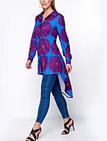 Для женщин На выход На каждый день Праздник Весна Лето Рубашка Рубашечный воротник,Винтаж Простое Уличный стиль Горошек Длинный рукав,
