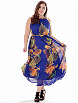 Women's Plus Size Boho Chiffon Swing Dress,Print Round Neck Maxi Sleeveless Cotton Polyester Summer Mid Rise Micro-elastic Medium