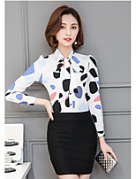 Women's Going out Simple Shirt,Polka Dot Shirt Collar Long Sleeve Others