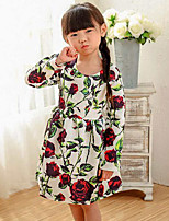 Girl's Floral Dress,Rayon Spring Fall Long Sleeve
