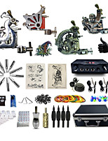 Complete Tattoo Kit 4 Machines G4A6A14Z12Z10P Liner & Shader Dual LED Digital Power Supply