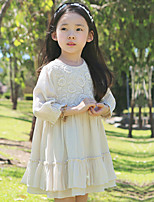 Girl's Solid Dress,Cotton Spring Fall Long Sleeve
