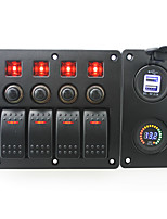 IZTOSS red led DC12V 4 Gang on-off rocker switch curved panel and circuit breaker with label stickers and blue led 3.1A USB power socket and DC12V vol