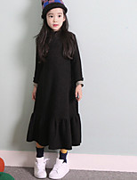 Girl's Casual/Daily Solid Dress,Cotton Spring Long Sleeve
