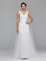 LAN TING BRIDE Linea-A Vestito da sposa Abiti da Sposa con mantellina Pizzo e fantasia floreale Strascico a terra A V Di pizzo Tulle conA