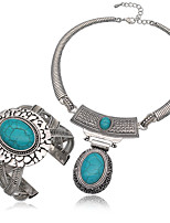 Jewelry 1 Necklace Bracelets & Bangles Wedding Party Special Occasion Halloween Daily Alloy Turquoise 1set Silver Wedding Gifts