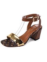 Women's Sandals Summer T-Strap Leatherette Outdoor Dress Casual Chunky Heel Buckle Walking