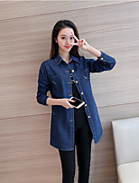Women's Casual/Daily Simple Spring Fall Denim Jacket,Solid Shirt Collar Long Sleeve Regular Others