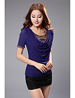 Summer new women's short-sleeved shirt Korean version of leopard hot drilling piles collar loose big yards net yarn t-shirt