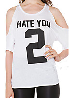 2016 European and American fashion HATE YOU 2 letters printed shoulder hollow round neck fifth sleeve T-shirt female