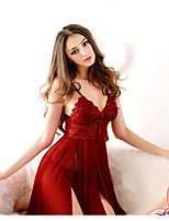 Women Lace Lingerie Ultra Sexy Nightwear,Lace Solid-Thin Polyester Red Women's