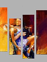 Hand-Painted Modern People Oil Painting Four Panel Canvas Oil Painting Multi Split Oil Painting