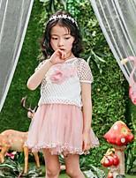 Vestido Chica de Un Color Retazos Algodón Rayón Manga Corta Verano