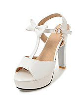 Women's Sandals Summer Fall Club Shoes PU Wedding Office & Career Dress Stiletto Heel Bowknot Buckle