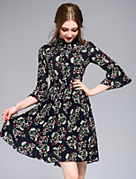 DFFDWomen's Casual/Daily Party Vintage Cute Street chic A Line DressFloral Round Neck Above Knee  Length Sleeve Polyester Spring SummerMid