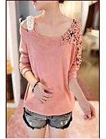 Women's Going out Casual/Daily Regular Pullover,Solid Round Neck Long Sleeve Cotton Polyester Spring Fall Thin Micro-elastic