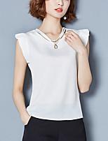 Для женщин На каждый день Большие размеры Лето Блуза V-образный вырез,Уличный стиль Однотонный Без рукавов,Полиэстер,Тонкая