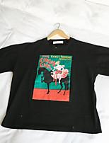 Harajuku bf vento desenhos animados de manga curta t-shirt estudantes do sexo feminino 65-35 tecidos de algodão