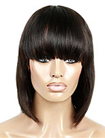 10-18 Inch Human Virgin Hair Natural Black Color Lace Front Wig BoB Style Hair with Baby Hair