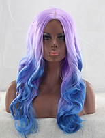 cor roxa estilo de moda meio de despedida resistente onda do corpo de longa duração mista azul cosplay peruca calor