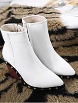 Белый Черный-Для женщин-Повседневный-Микроволокно-На танкетке-Удобная обувь-Ботинки