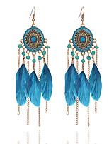 4 Colors 2017 Summer Fashion Bohemia Bead Tassel Earring Feather Pendant Earrings For Women Long Chain Earring Jewery Wholesale