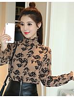 Really making 2017 spring new blouses print chiffon shirt shirt Korean version was thin shirt female