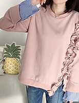Women's Going out Vintage Simple T-shirt,Solid Round Neck Long Sleeve Cotton