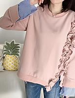 Damen Solide Retro Einfach Ausgehen T-shirt,Rundhalsausschnitt Langarm Baumwolle