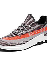 Серый Черно-белый-Для мужчин-Для прогулок Повседневный Для занятий спортом-Тюль-На плоской подошве-Удобная обувь Светодиодные подошвы-Кеды