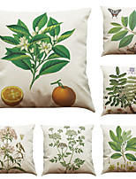Set of 6 American Pastoral Style  Pattern  Linen Pillowcase Sofa Home Decor Cushion Cover  Throw Pillow Case (18*18inch)